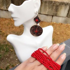 New Set of  Red earring and bracelet!